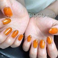 #ハンド #ワンカラー #ニュアンス #ミラー #オレンジ #ブラウン #ゴールド #coco.nail3.1 #ネイルブック