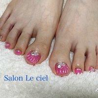 #フット #海 #夏 #リゾート #ピンク #人魚の鱗 #フット #ピンク #Salon_Le_ciel #ネイルブック