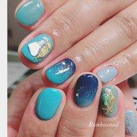#summernails #sea #rainbownail #流山おおたかの森ネイルサロン #松谷早百合(まつやさゆり) #ネイルブック