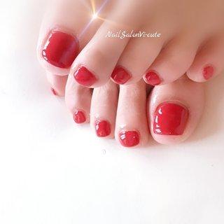 大人Red♡ #春 #夏 #海 #リゾート #フット #シンプル #ワンカラー #レッド #ジェル #お客様 #Vicu #ネイルブック