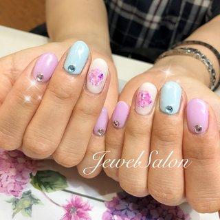 #春 #夏 #海 #浴衣 #ハンド #シンプル #フラワー #シェル #ショート #ピンク #パステル #カラフル #ジェル #お客様 #JEWEL SALON total beauty【旧jewel nail】 #ネイルブック