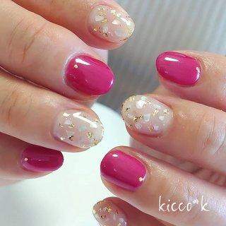 お上品な輝き(⁎˃ᴗ˂⁎)❇️ #シェルネイル ✕#ホイルフレーク ✨  ホイルフレークは #マティエール ローズゴールド がお気に入り😉  #nail #nails #nailsalon #instanails #nailswag #nailstagram #nailart #naildesign #gelnails #manicurist #ネイル #ネイルデザイン #大人ネイル #ジェルネイル #ネイルサロン #八潮市 #八潮ネイル #八潮ネイルサロン #足立区ネイルサロン#北千住ネイルサロン #六町ネイル #三郷ネイル #草加ネイル #自宅サロン #kicco_k #春 #オールシーズン #デート #女子会 #ハンド #ワンカラー #シェル #ショート #レッド #ゴールド #ジェル #お客様 #kicco_k.nail #ネイルブック