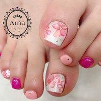 #フット #ホワイト #ピンク #ネオンカラー #ジェル #お客様 #nailsalon.Arna #ネイルブック