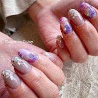大人気の水彩手描きの紫陽花ネイルです。 #ブルーグレイッシュ と合わせて、大人っぽく仕上げました。  #梅雨ネイル #紫陽花ネイル #紫陽花 #あじさいネイル #夏 #フラワー #ジェル #お客様 #nailsalondaisy #ネイルブック