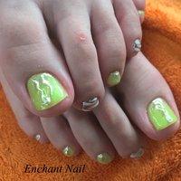 #夏ネイル#夏フットネイル#フットネイルデザイン#naildesign #nails#nailart#倉敷ネイルサロン#岡山ネイルサロン#ミラーネイル#エンチャートネイル #夏 #リゾート #浴衣 #フット #シンプル #アニマル柄 #ミラー #イエロー #グリーン #メタリック #ジェル #お客様 #enchant1188 #ネイルブック