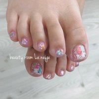 #夏 #フット #シェル #ショート #ピンク #水色 #パープル #ジェル #お客様 #beauty room La neige #ネイルブック