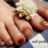 #フットネイル #ジェル #お客さまネイル #シェルネイル #ネイルサロン #北九州市 #小倉北区 #nails #nailbook #ご紹介ありがとうございます #pooh #ネイルブック