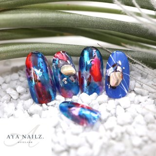 Daily nail designs. 💙💜💙 雨の日☔️が続いても元気になれそうな雨色カラーのカラフルネイル♪ ・ シースルー感が涼しげで梅雨のジメッと…をスッキリ気分にさせてくれます☺️👌💙 ・ 風景画などからもインスピレーションでオリジナルデザインさせて頂きます♪ ・ ハンドジェルキャンペーン、実施中です💅✨💜 #nail #nails #nailsofinstagram #notd #nailart #gelnails #gelnailsdesign #fashion #fashionnails #AYANAILZ #夏 #オールシーズン #海 #リゾート #ホログラム #シェル #シースルー #たらしこみ #水色 #ブルー #パープル #ジェル #ネイルチップ #AYA #ネイルブック