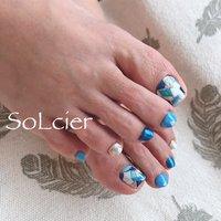 #フット #ブロック #ホワイト #水色 #ブルー #【SoLcier】ソルシエ #ネイルブック