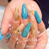 #Nailbook #ハンド #タイダイ #ブルー #スカルプチュア #Nail Salon&school Honey Choco #ネイルブック