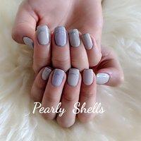 #夏 #オフィス #デート #女子会 #ハンド #シンプル #フレンチ #ワンカラー #ミディアム #パープル #グレー #シルバー #ジェル #お客様 #pearly.shell.s #ネイルブック