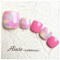 #Nailbook #夏 #フット #タイダイ #ピンク #ネイルチップ #Aiuto ~Nail&Beauty~ #ネイルブック