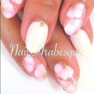 #Nailbook #夏 #フラワー #ピンク #MICHIKO_SUGAWARA #ネイルブック