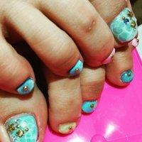 水面ー!♥ #夏 #フット #ブルー #ジェル #Sayaka Nakano #ネイルブック