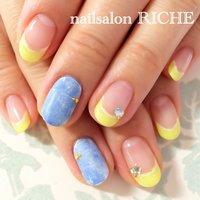 denim & yellow #夏 #ハンド #デニム #ミディアム #イエロー #ジェル #お客様 #nailsalon_RICHE #ネイルブック