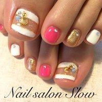 #Nailbook #夏 #フット #ホログラム #ホワイト #ジェル #お客様 #Nail_salon_slow #ネイルブック