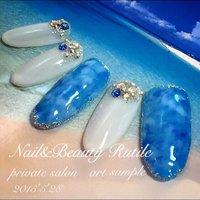 #夏 #ハンド #マリン #ロング #ブルー #ネイルチップ #Nail&BeautyRutile♡Risa #ネイルブック