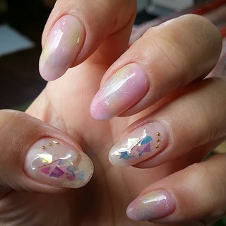 #春 #入学式 #オフィス #デート #パール #シースルー #ホイル #マーブル #ピンク #イエロー #パープル #ジェル #お客様 #nail garden... #ネイルブック