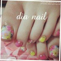 #デート #フット #フラワー #ビビッド #ジェル #お客様 #Private nail salon Dia nail #ネイルブック