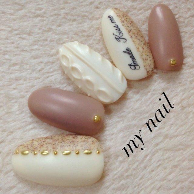 #秋 #ハンド #ニット #ベージュ #my_nail #ネイルブック