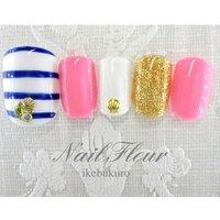 #Nailbook #夏 #フット #マリン #ショート #ピンク #ジェル #ネイルチップ #nailfleur_ikebukuro #ネイルブック