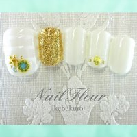 #Nailbook #夏 #フット #マリン #ショート #ホワイト #ジェル #ネイルチップ #nailfleur_ikebukuro #ネイルブック
