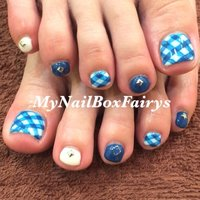 #Nailbook #夏 #フット #チェック #ショート #ブルー #ジェル #お客様 #fairys #ネイルブック