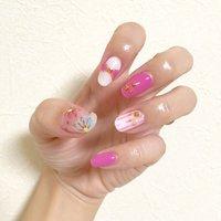 妹にウルサイと言われた爪。 #春 #ハンド #リボン #ピンク #ジェル #セルフネイル #91_a4 #ネイルブック