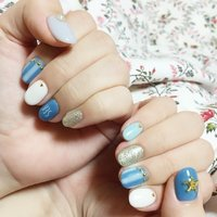 親指のひとでさんが、ポイント! #海 #ハンド #マリン #ブルー #ジェル #mai22 #ネイルブック