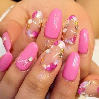 #Nailbook #デート #ハンド #フラワー #ピンク #ジェル #お客様 #pinkdollhouse_95457 #ネイルブック