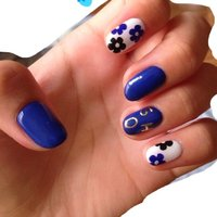 #Nailbook #フラワー #ブルー #haruchi #ネイルブック
