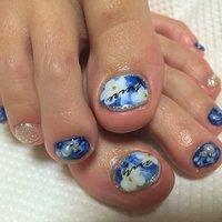#Nailbook #フラワー #ブルー #ジェル #お客様 #miyu_yuura #ネイルブック