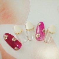 #Nailbook #春 #ハンド #フラワー #ピンク #ジェル #ネイルチップ #macaron_futakotamagawa #ネイルブック