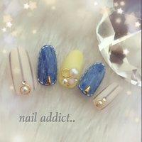 #Nailbook #春 #ハンド #ストライプ #ブルー #ジェル #ネイルチップ #nail addict..*ネイルアディクト*大人の為のネイルサロン下関 #ネイルブック