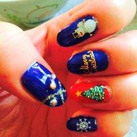 #クリスマス #ハンド #ブルー #ジェル #セルフネイル #yurishin1014 #ネイルブック
