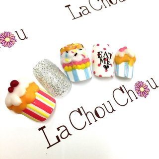 #Nailbook #バレンタイン #ハンド #3D #カラフル #ネイルチップ #Lachouchou_mika #ネイルブック