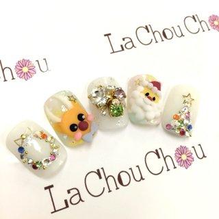 #Nailbook #クリスマス #ハンド #3D #ホワイト #ネイルチップ #Lachouchou_mika #ネイルブック