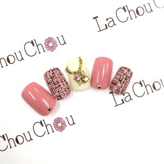 #Nailbook #デート #ハンド #ツイード #ピンク #ネイルチップ #Lachouchou_mika #ネイルブック