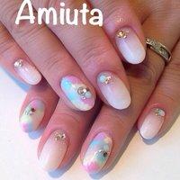 #Nailbook #夏 #ハンド #ピーコック #ホワイト #ジェル #お客様 #Amiuta #ネイルブック