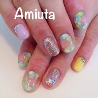 #Nailbook #夏 #ハンド #マーブル #カラフル #ジェル #お客様 #Amiuta #ネイルブック