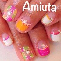 #Nailbook #夏 #ハンド #変形フレンチ #ビビッド #ジェル #お客様 #Amiuta #ネイルブック