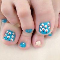 北欧チックなテキスタイル♡ #夏 #フット #ドット #ブルー #ジェル #セルフネイル #tytto_nail #ネイルブック