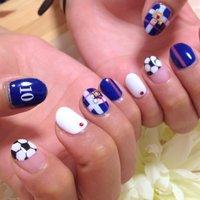 ワールドカップネイル #スポーツ #ハンド #ブルー #ジェル #お客様 #mizue515 #ネイルブック