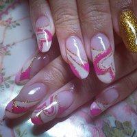 #夏 #ハンド #ハート #ピンク #ジェル #お客様 #Ryotapan18 #ネイルブック