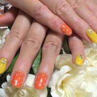 初夏ネイル #夏 #ハンド #ドット #オレンジ #ジェル #ayako_pingu #ネイルブック