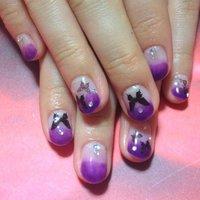 紫グラデに蝶々 #ハンド #グラデーション #パープル #ジェル #お客様 #KanrnK #ネイルブック