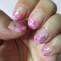 ピンク系のマーブルにホロの星とラメがポイント。 #princess_kailua #ネイルブック