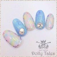 #Nailbook #マーブル #ブルー #DollyTales_nail #ネイルブック