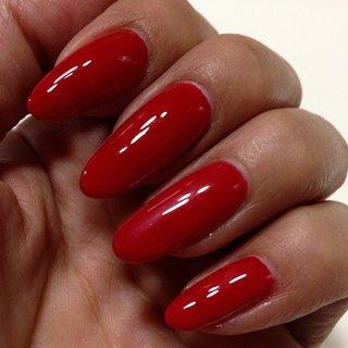 自爪がながーく伸びたので、真っ赤に塗ってみた(笑) #hhr999 #ネイルブック