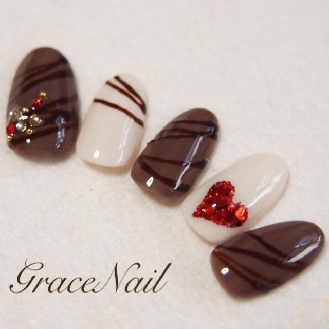 バレンタインチョコネイル #ハート #バレンタイン #ブラウン #ジェルネイル #ハンド #チップ #GraceNail #ネイルブック